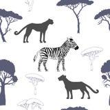 Безшовная картина с животными саванны Стоковые Фотографии RF
