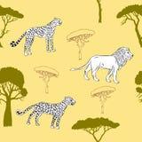 Безшовная картина с животными саванны Стоковая Фотография RF