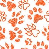 Безшовная картина с животными следами ноги, лапка любимчика штемпелюет на белой предпосылке, насиженных животных шагах, пробах и  Стоковое Фото