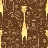 Безшовная картина с жирафом - иллюстрацией вектора, eps бесплатная иллюстрация