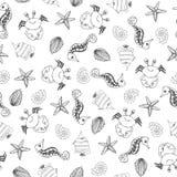 Безшовная картина с жителями моря также вектор иллюстрации притяжки corel иллюстрация штока