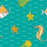 Безшовная картина с жителями моря иллюстрация штока