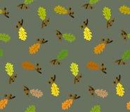 Безшовная картина с жолудями и листьями дуба Стоковое Изображение RF