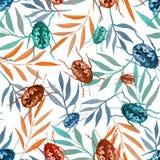 Безшовная картина с жуками акварели и красочными ветвями бесплатная иллюстрация