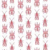 Безшовная картина с жуками Стоковые Изображения RF