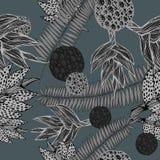 Безшовная картина с заводами воодушевила тропической ботаникой в тенях серого цвета Стоковые Изображения RF