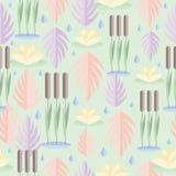Безшовная картина с заводами заболоченного места Reed, лилия воды и листья в плоском дизайне бесплатная иллюстрация