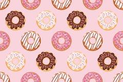 Безшовная картина с застекленными donuts Розовые цветы Girly Для печати и сети иллюстрация штока