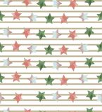 Безшовная картина с звездами на striped предпосылке Стоковое Изображение RF