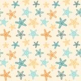 Безшовная картина с звездами моря Стоковая Фотография RF