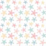Безшовная картина с звездами моря Стоковое Фото
