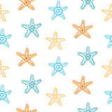 Безшовная картина с звездами моря Стоковые Изображения RF