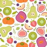 Безшовная картина с здоровыми плодоовощами Стоковое фото RF
