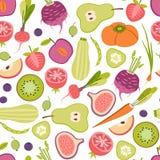 Безшовная картина с здоровыми фруктами и овощами Стоковые Фотографии RF