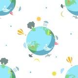 Безшовная картина с землей на белой предпосылке Стоковая Фотография