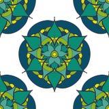 безшовная картина с зеленой голубой мандалой Стоковые Фото