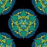 безшовная картина с зеленой голубой мандалой Стоковые Изображения
