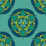 безшовная картина с зеленой голубой мандалой Стоковое Изображение RF