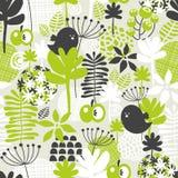 Безшовная картина с зеленой травой и темными птицами. бесплатная иллюстрация