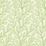 Безшовная картина с зелеными листьями Стоковые Изображения