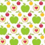 Безшовная картина с зелеными, красными и желтыми яблоками Стоковая Фотография