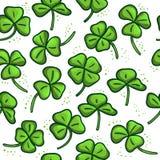 Безшовная картина с зеленым клевером Хорошо Стоковые Фото