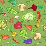 Безшовная картина с зеленым цветом овощей Стоковое Изображение RF