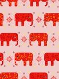 Безшовная картина с зеленым цветом покрасила слонов для индийского фестиваля цветов Стоковые Фотографии RF