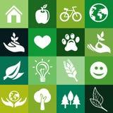 Безшовная картина с знаками экологичности Стоковая Фотография
