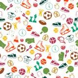 Безшовная картина с значками спорта Стоковые Изображения RF