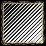 Безшовная картина с золотыми цепями и черными линиями на белой предпосылке иллюстрация штока