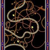 Безшовная картина с золотыми цепями, поясами и самоцветами Шарф вектора для печати моды, дизайна ткани бесплатная иллюстрация