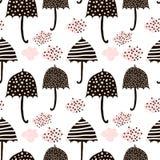 Безшовная картина с зонтиками нарисованными рукой красочными Ребяческая текстура Большой для ткани, иллюстрации вектора ткани бесплатная иллюстрация