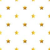 Безшовная картина с золотыми покрашенными вручную звездами на белой предпосылке Стоковое Изображение