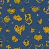 Безшовная картина с золотыми сердцами День валентинки St или Wedd Стоковые Изображения RF