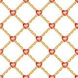 Безшовная картина с золотыми цепями и рубинами Стоковые Фото
