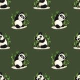 Безшовная картина с играть панд и бамбук Стоковые Изображения