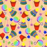 Безшовная картина с игрушками детей Стоковое Изображение RF