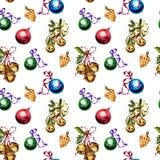 Безшовная картина с игрушками и украшениями рождества изолированными на белой предпосылке стоковое изображение