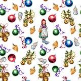 Безшовная картина с игрушками и украшениями рождества изолированными на белой предпосылке стоковое фото