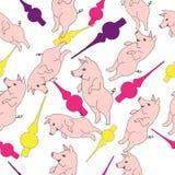 Безшовная картина с изображением к году свиньи 2019 иллюстрация вектора