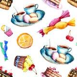 Безшовная картина с изображением помадок - тортом, конфетой, тортом, чаем Элементы для дизайна печатей, предпосылок, обоев, иллюстрация вектора