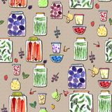 Безшовная картина с иллюстрацией акварели Стоковые Фото