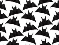 Безшовная картина с иллюстрацией 3d летучей мыши origami на белой предпосылке halloween иллюстрация штока