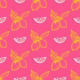 Безшовная картина с лимоном Стоковые Фотографии RF