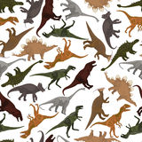 Безшовная картина с динозаврами Стоковое Фото