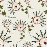 Безшовная картина с индейцами цветков Стоковая Фотография RF