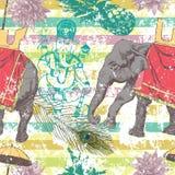 Безшовная картина с индийским слоном, цветками, Ganesha вектор Стоковые Изображения