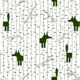 Безшовная картина с лисой в лесе Стоковое Фото