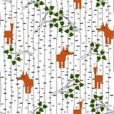 Безшовная картина с лисой в лесе Стоковые Фотографии RF